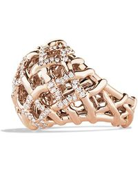 David Yurman Venetian Quatrefoil Dome Ring with Diamonds in Rose Gold - Lyst