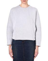 Victoria Beckham Zipdetailed Sweatshirt Grey - Lyst
