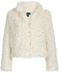 Izabel London - Cropped Faux Fur Jacket - Lyst