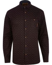 River Island Dark Red Holloway Road Ditsy Print Shirt - Lyst
