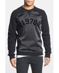 Diesel 'Tae' Mixed Media Raglan Sweatshirt black - Lyst