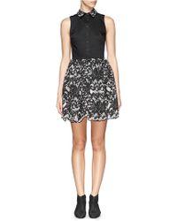 Alice + Olivia 'Avery' Damask Collar Pouf Dress - Lyst