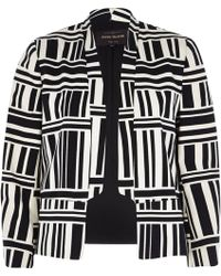 River Island Black Graphic Stripe Sateen Cropped Jacket - Lyst
