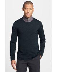 John Varvatos Slim Fit Leather Trim Crewneck Sweater - Lyst