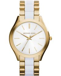 Michael Kors Ladies Gold-Tone And White Slim Runway Watch - Lyst