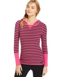 Calvin Klein Striped Hooded Thermal Pullover - Lyst
