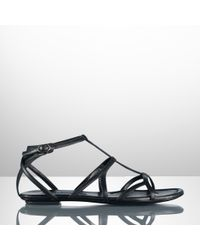 Ralph Lauren Collection Calfskin Viella Flat Sandal - Lyst