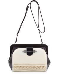 Jason Wu Twotone Whipstitch Crossbody Bag Cremeblack - Lyst