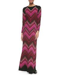Melissa Masse Long-sleeve Chevron-print Maxi Dress - Lyst