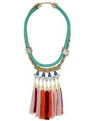 Topshop Tassel And Rhinestone Necklace - Lyst