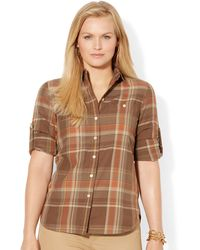 Lauren by Ralph Lauren Plus Plaid Cotton Workshirt - Lyst