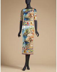 Dolce & Gabbana | Sheath Dress In Printed Charmeuse | Lyst