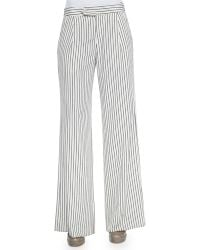 Derek Lam Striped Flared Crepe Pants - Lyst