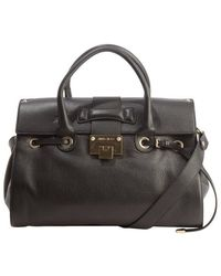 Jimmy Choo Black Leather Rosalie Convertible Top Handle Satchel - Lyst