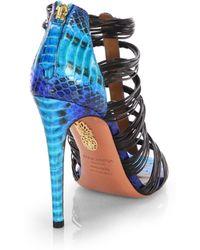 Aquazzura Xena Snakeskin Leather Strappy Sandals - Lyst