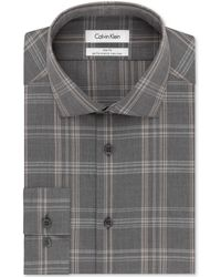 Calvin Klein Steel Non-Iron Performance Slim-Fit Tan Multi-Check Dress Shirt - Lyst