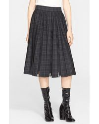 Marc Jacobs Pleated Worsted Wool Check Skirt gray - Lyst
