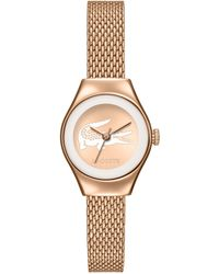 Lacoste Womens Valencia Rose Gold Ion-plated Stainless Steel Mesh Bracelet Watch 24mm - Lyst