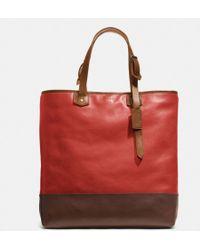 Coach Bleecker Shopper In Colorblock Leather red - Lyst