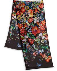 Roberto Cavalli Floral-Print Silk Scarf - Lyst