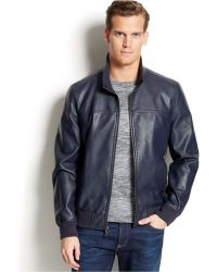 Tommy Hilfiger Faux Leather Bomber Jacket - Lyst