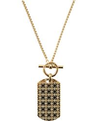 Michael Kors Dog Tag Necklace gold - Lyst