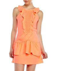 Maje Neon Rose Ruffle Dress - Lyst