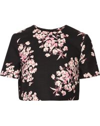 Jonathan Saunders - Bibbi Cropped Floral-print Stretch-cotton Top - Lyst
