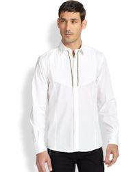 Versace Gold Zip Woven Cotton Sportshirt - Lyst