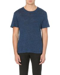 Sandro Heather Linen Tshirt Blue - Lyst