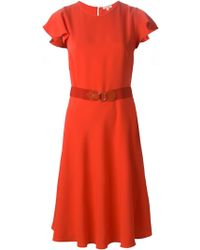 P.A.R.O.S.H. Flutter Sleeve Belted Dress - Lyst