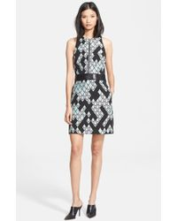 3.1 Phillip Lim Front Zip Jacquard Dress With Leather Belt - Lyst