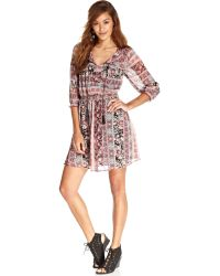 American Rag Printed Chiffon Dress - Lyst