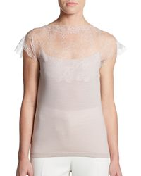 Valentino Lace Accented Knit Top - Lyst