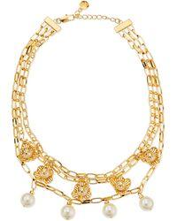 Tory Burch Golden Cara Short Flower Necklace gold - Lyst