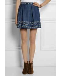 Sea Embroidered Cottonchambray Mini Skirt - Lyst