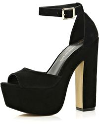 River Island Black Peep Toe Platform Sandals - Lyst