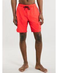 Topman Orange Embroidered Detail Boardshorts - Lyst