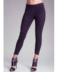 Bebe Faux Suede Rocker Leggings - Lyst