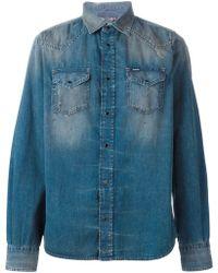 Diesel Paint Splash Washed Denim Shirt blue - Lyst