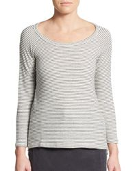 James Perse Striped Cotton-Blend Pullover - Lyst