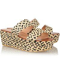 Robert Clergerie Frazziap Raffia Platform Sandals - Lyst
