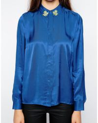 American Retro Galactica Long Sleeve Shirt With Embellished Collar - Lyst