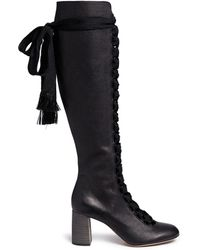 Chloé Lace-Up Knee High Leather Boots black - Lyst