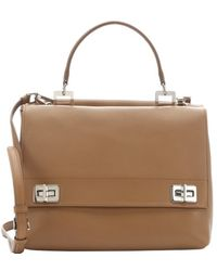 Prada Caramel Leather Flap Front Convertible Dual Satchel - Lyst