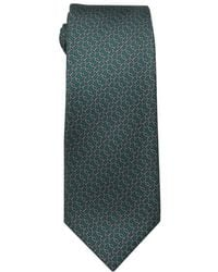Hermès Green And Grey Chainlink Print Silk Tie - Lyst