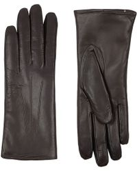 Harrods Rabbit Fur Lined Leather Gloves - Lyst