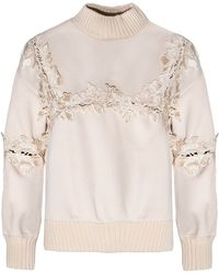 Pixie Market   beige Ivory Floral Cut Out Sweater   Lyst