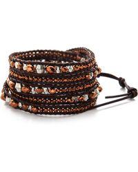 Chan Luu - Grey Banded Agate, Hematite, Crystal & Leather Multi-row Beaded Wrap Bracelet - Lyst