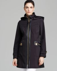Via Spiga Coat Faux Leather Trim Soft Shell Hooded - Lyst